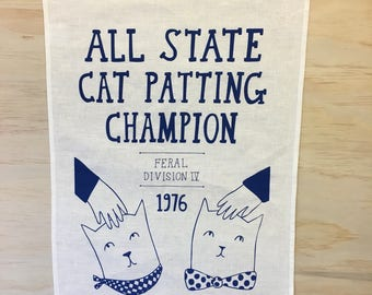 Tea Towel - All State Cat Patting Champion