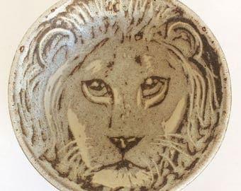 Andersen Design Studio Pottery Lion Bowl,  Vintage Maine Ceramic Mid century
