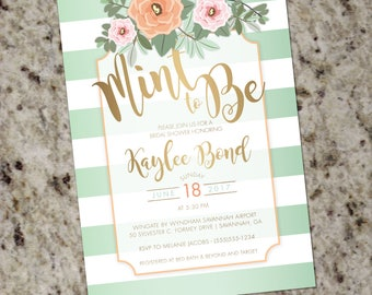 Mint and Gold Wedding Shower Invitation - Mint to Be - Mint Peach and Gold - DIY Printable - Print Your Own