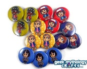 """Stranger Things Pixel Art 1.5"""" Pin Buttons or Magnets Set of 5 - Eleven   Lucas   Dustin   Will   Mike"""