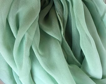 Green Silk Shawl - Low Shipping Costs - Perfect for Weddings