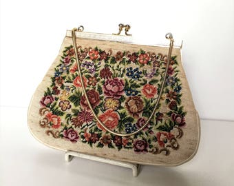 Vintage 1960's Petit Point Needlepoint Bag Beige - Tapestry Handbag - Small Purse Coin Purse Kiss Closure - Floral Pattern Roses Leaves
