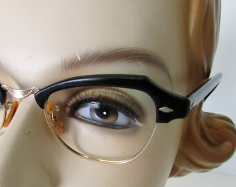 Vintage Eye Glasses Eyeglasses Frames Horn Rim Style Bausch and Lomb Black and Gold filled 1950s  Mens or Womens