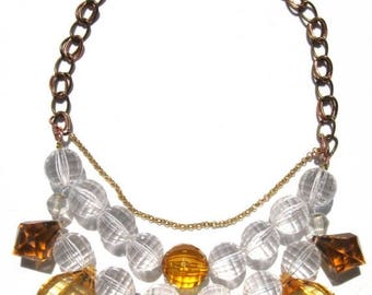 CLEARANCE Fun Amber clear acrylic handmade statement necklace