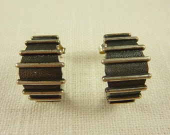Vintage Sterling Semi Hoop Earrings