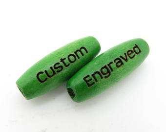 22mm x 8mm - Bright Kelly Green Wood Melon Oval Beads - Custom Laser Engraved - PERSONALIZED - Large Hole - 2.75 to 3mm Hole