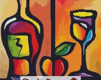 Modern Cross Stitch Kit, 'Wine Tasty' by Thomas Fedro, Counted Cross Stitch, Kitchen Cross Stitch, Dining Room Art, Wine Bottle Needlecraft