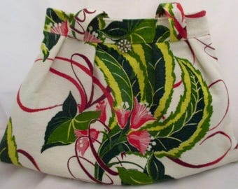 Vintage Inspired Hand Sewn Barkcloth Floral Tote Bag Purse Lined Rhinestone Closure
