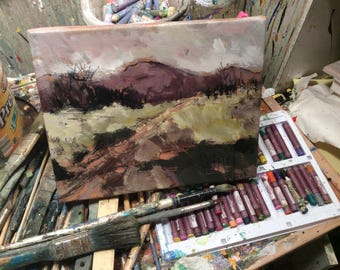 Berkshire Landscape Painting, small 8 x 10 painting ready to hang