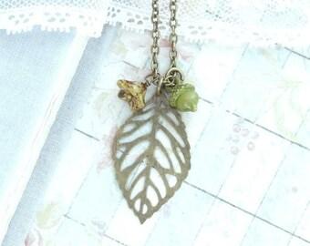 Leaf Pendant Necklace Autumn Necklace Acorn Charm Necklace Woodland Jewelry Nature Necklace