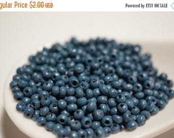 SUMMER CLEARANCE Small Round Dull Navy Blue Wood Beads - 3mm - 350