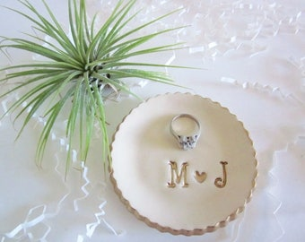 White with gold trim, Ring dish, ring holder, wedding ring holder, ceramic engagement gift, engagement gifts for best friend