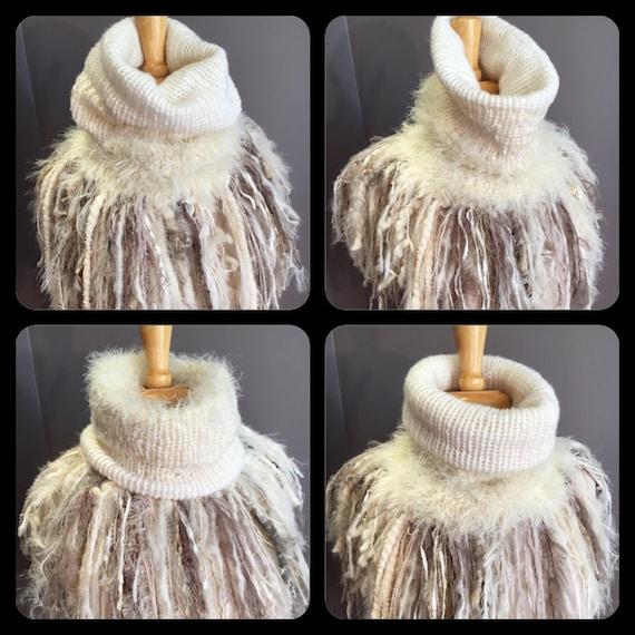 Handmade Knit Fur Reversible Ivory Cowl with artsy fringe, neckwarmer, turtleneck scarf, taupe scarves, hand spun fibers, bohemian, artwear