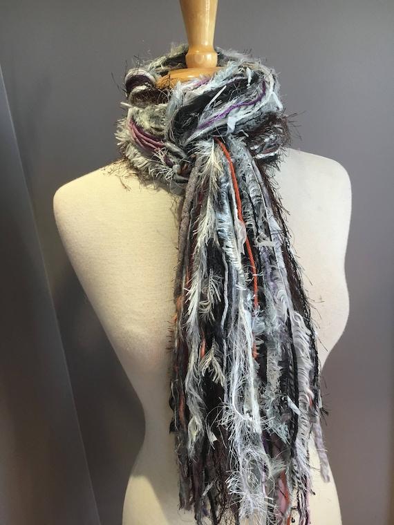 Fringie in Moon Dance, All Fringe Scarf, Handmade hand-tied art fringe scarf in grey purple white, bohemian, gifts, long yarn scarf, fur