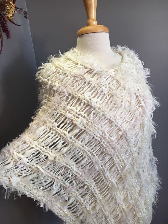 Hand Knit Fringed Ivory Poncho, Shaggy Chic Series 'Elegance' Multitextural Fringed Knit Poncho, shoulder wrap, bridal wrap, spring cover up