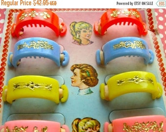 ONSALE Vintage Antique Five and Dime Store Display 1950s, Hair Barrettes Beautiful Card Complete with 12 Pretty Kitsch Hair Barettes