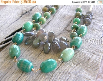 Summer Sale 20% Off Lux Extra Long Green Opal, Labradorite and Gold Multi-Strand 2 in 1 Necklace,