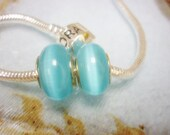 Turquoise Cats eye Glass European Bead-Big Hole Sea Color Bead