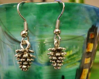 Woodland silver Pinecone Earrings-3D Pinecone earrings