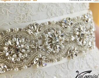 "SALE 20% Bridal sash 24"" , rhinestones and crystals sash, wedding sash, jeweled sash belt, crystal sash, wedding gown embellishment"