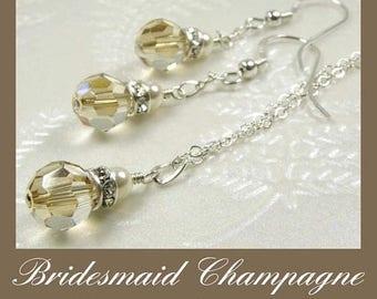 Champagne Crystal Jewelry Set, Yellow Swarovski, Sterling Silver, Bridesmaid Gift, Autumn Fall Wedding Jewelry, Handmade November Birthday