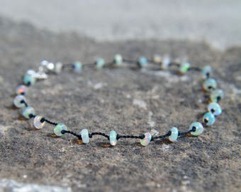 Ethiopian Opal Knotted Silk Bracelet October Birthstone