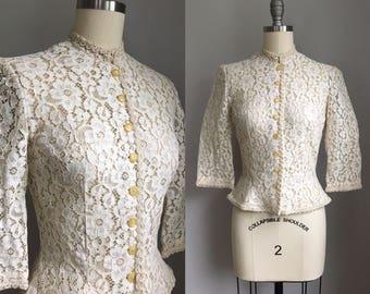 Vintage 1950s Ivory Lace New Look Peplum Jacket Size Xs