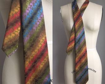 Vintage 1960s Ombre Rainbow Unicorn Stripe Wembly Necktie Tie