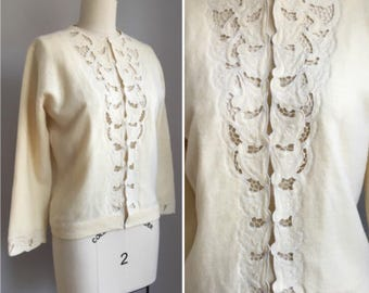"Vintage 50s Ivory Lambswool Angora Lace Cutwork Cardigan Sweater Size Small 35"" bust"