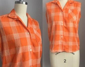 Vintage 1960s Orange and White Plaid Sleeveless Cotton Top Size Small