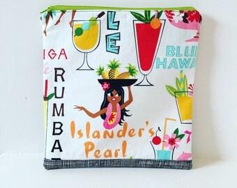 Tropical Hawaiian Zipper Pouch / Pouch/ Makeup Bag/ Travel