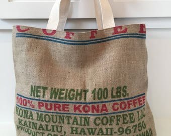 Kona Mountain Coffee/ Beach Bag/ Market Tote/ Coffee Sack Tote