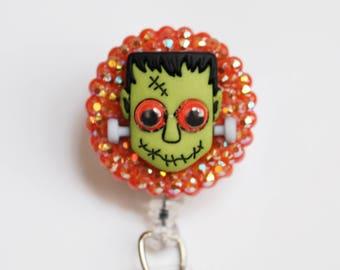 Halloween Zombie Frankenstein ID Badge Reel - Retractable ID Badge Holder - Zipperedheart