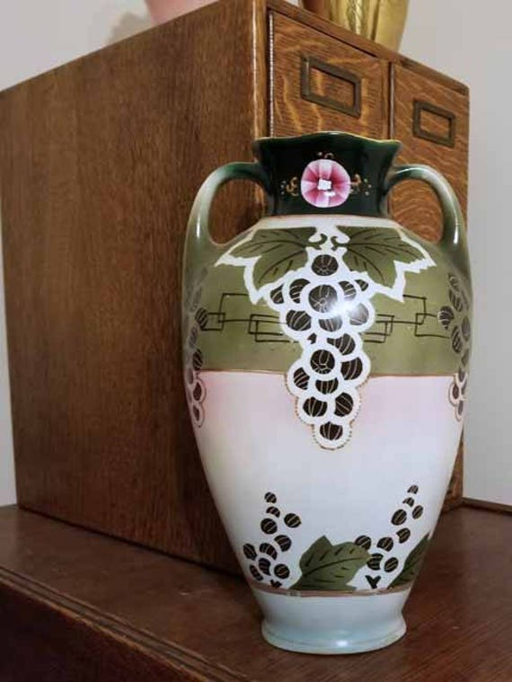 Large antique Royal Nippon Nishiki Japan hand painted porcelain ceramic vase urn eared handles Art and Crafts grape leaf, shabby chic