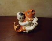 Vintage Chinese Boy with Koi Porcelain Figurine or fountain Feng Shui