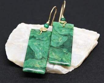 African Jade Gemstone, Dangle Drop Earrings, Dark Green Gemstone, Gold Filled Earrings, Green Malachite, Dangle Drop Earrings,  E16140