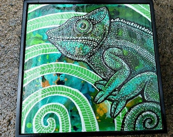 Original Chameleon Miniature Art by Lynnette Shelley