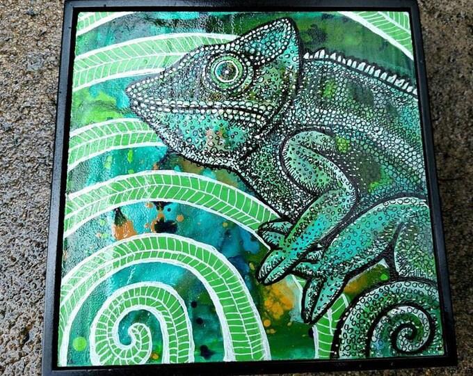 Original Chameleon Miniature Art by Lynnette Shelley