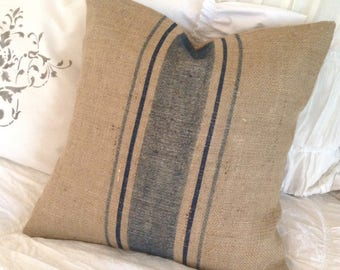 French Grainsack Burlap Pillow Cover with Blue Stripes   Farmhouse/Lakehouse/Beach/Nautical/Coatal/Rustic/Cottage Chic Decor
