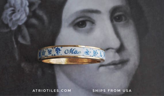 Mãe Mother BRACEleT - Portugal Tile Azulejo Antique Delft Bangle size 8 PRE ORDER
