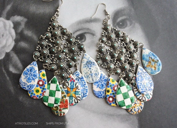"""Earrings Ethnic Tile Bohemian Gypsy Persian Portugal Antique Azulejo , Boho Hippie Turkish Moroccan 16grams 5"""" long OOAK"""