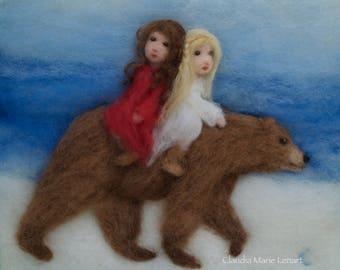 Snow White Rose Red Needle Felt Wool Painting Grimm Waldorf Art