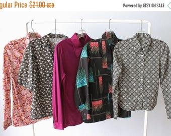 SALE Vintage Wholesale Bulk Blouse Lot / 1960s 1970s Blouses Tops / 5 Piece Wholesale Women's Shirt Blouse Lots