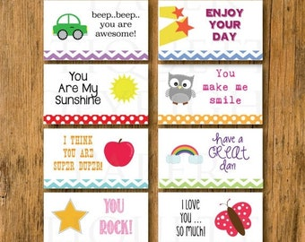 10% Sale INSTANT DOWNLOAD First Day Of School Lunchbox Children's Notes -  First Day 2015 Notes - Print Your Own Notes