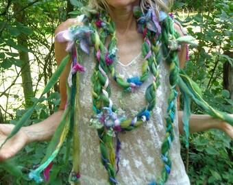 scarf fantasy luxury fiber art yarn braid lariat extra long garland scarf - midsummer faerie wedding party