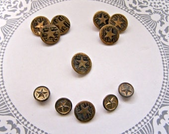 Star Buttons, 12, Button lot, Metal Buttons, Sewing supply
