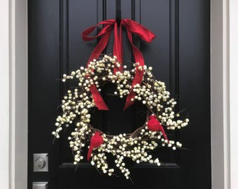 White Berry Wreath, Christmas Berry Wreath, Red Cardinal Decor, Indoor/Outdoor Wreaths, New 2017 Christmas Wreaths, Holiday Decor