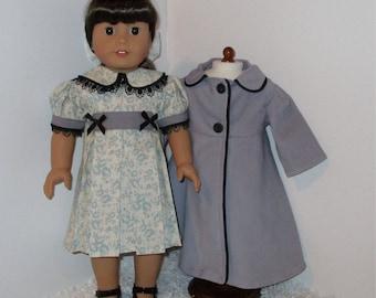 "Gray Dress and Coat Set, Fits 18"" Dolls // AG Doll Coat, AG Doll Dress, American Girl Dress, Doll Coat Set, Winter Coat"