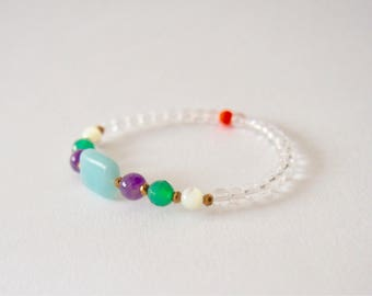 Amazonite, Amethyst, Green Onyx, Mother of Pearl, Crystal Quartz bracelet