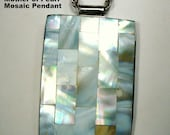 Moon Goddess Mosaic MOP Pendant, on SilverTone Chain, Luminescent Mother of Pearl Rectangular Inlay Amulet